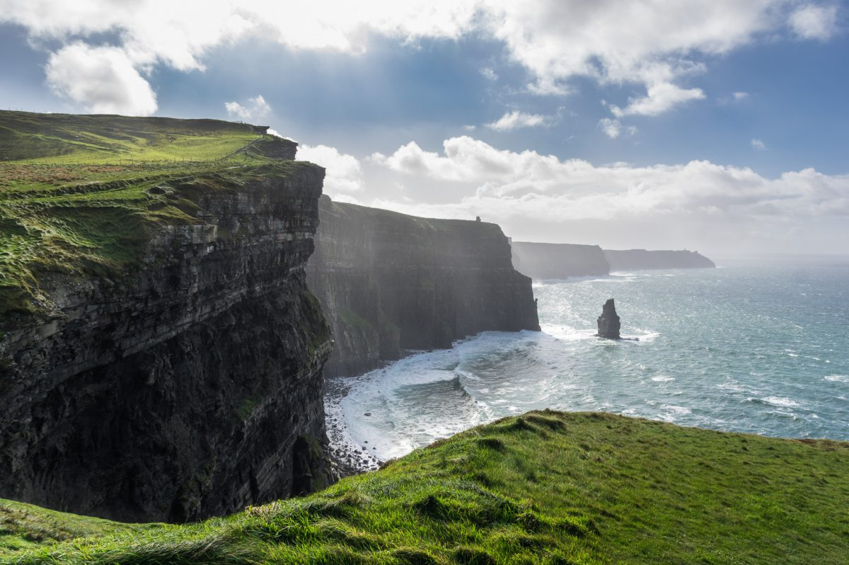 Shot of the successive cliffs of Moher right on the Atlantic ocean