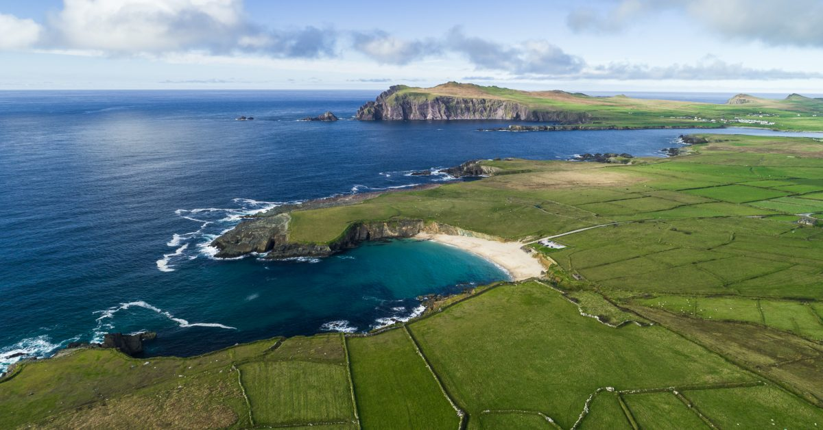 Aerial shot of the Atlantic coast in Dunquin