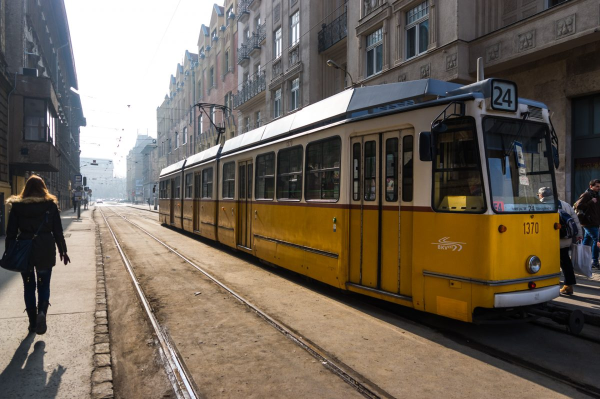 wide angle of tram number 24 in Budapest
