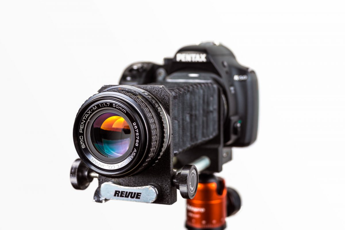 A dslr camera with macro bellows