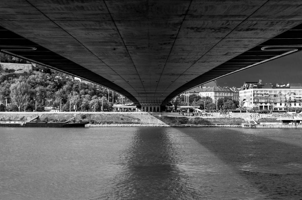 Image under the UFO bridge in Bratislava, Slovakia