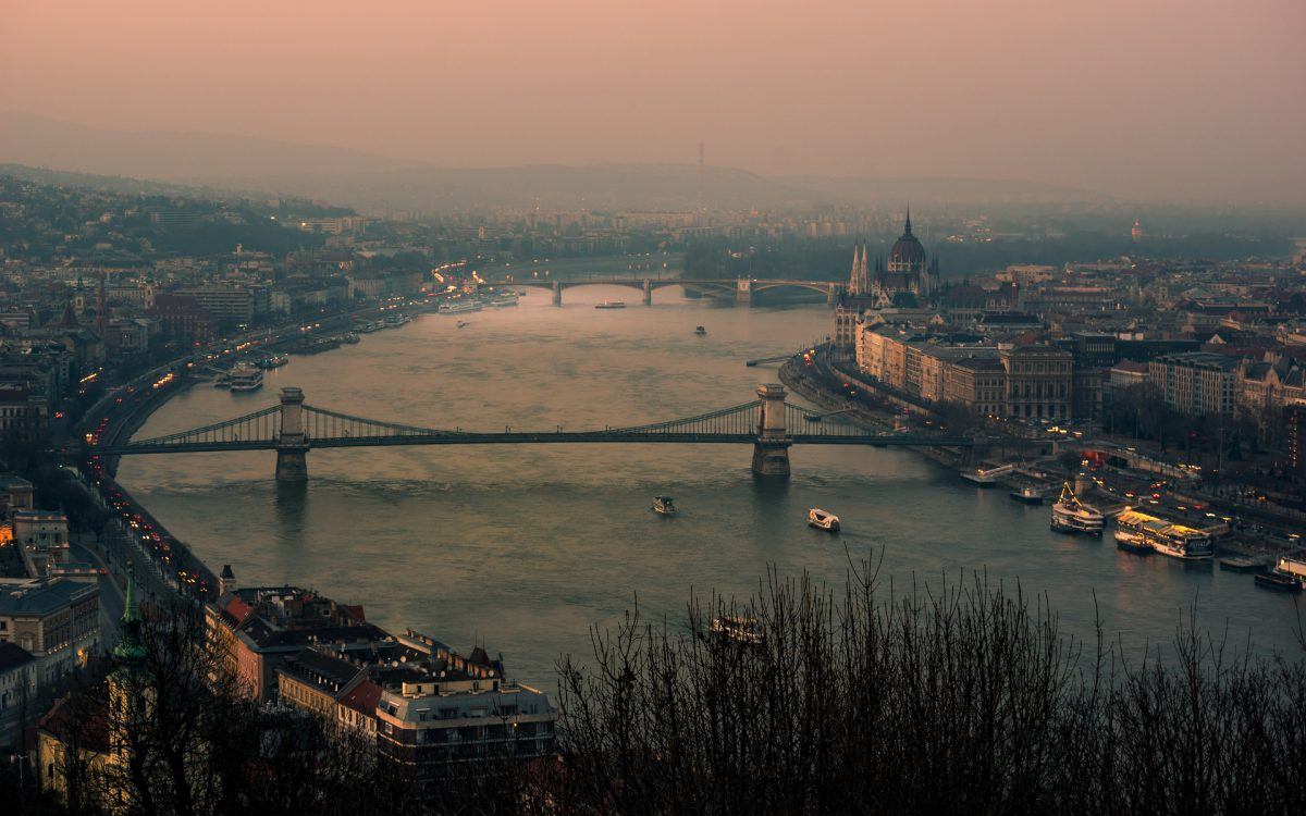 A wide image of Danube river and the banks of Buda and Pest in Budapest