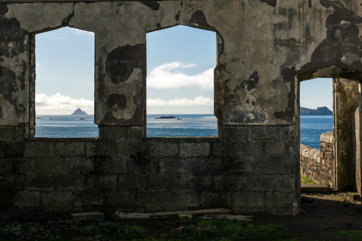"The Atlantic Ocean through the missing door and windows of the old school which was used as a set for the movie ""Ryan's Daughter"""