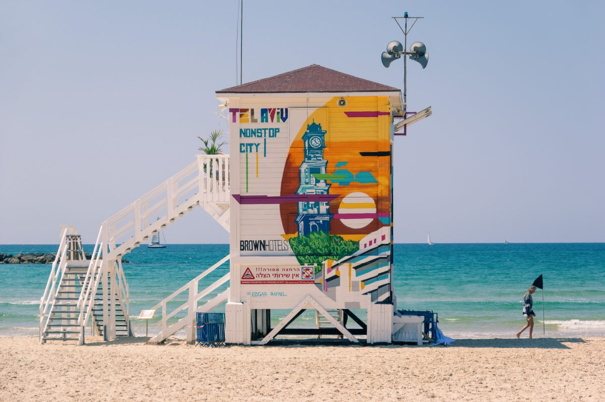 Pop-up hotels in a lifeguard tower at Frishman beach, Tel Aviv Israel