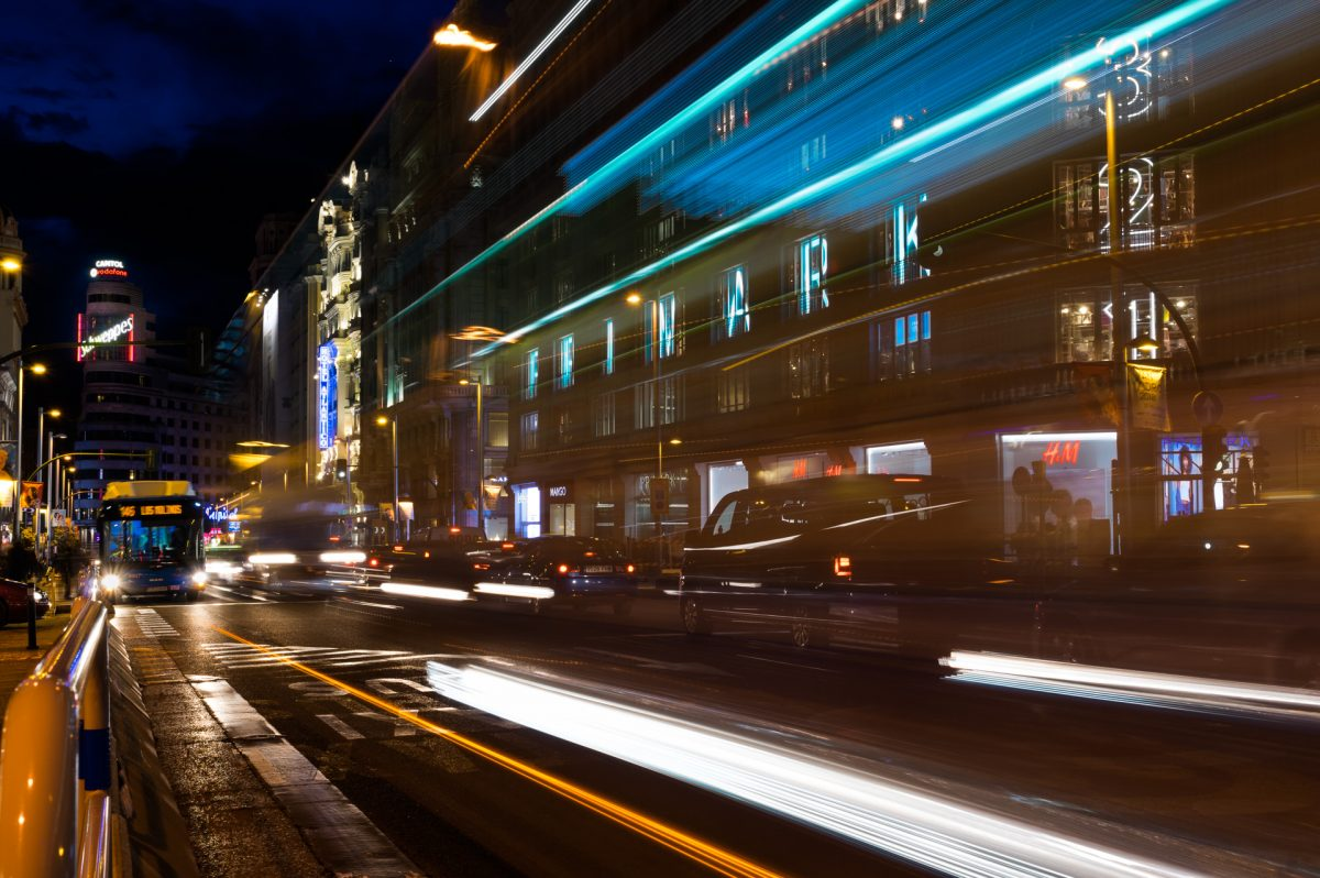 Long exposure of the traffic outside Primark on Gran Via avenue, Madird