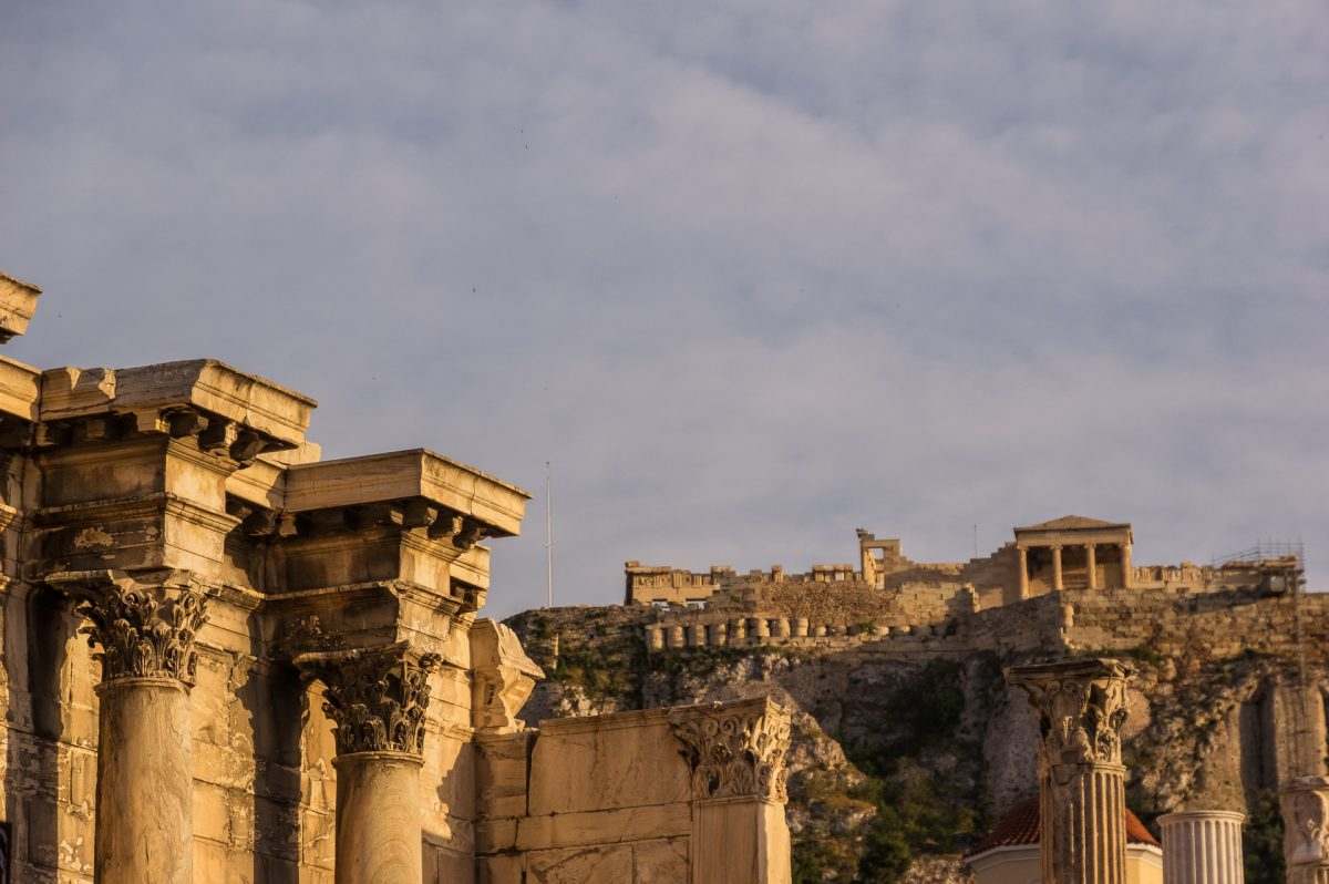 The columns of Hadrian's library with Acropolis in the background