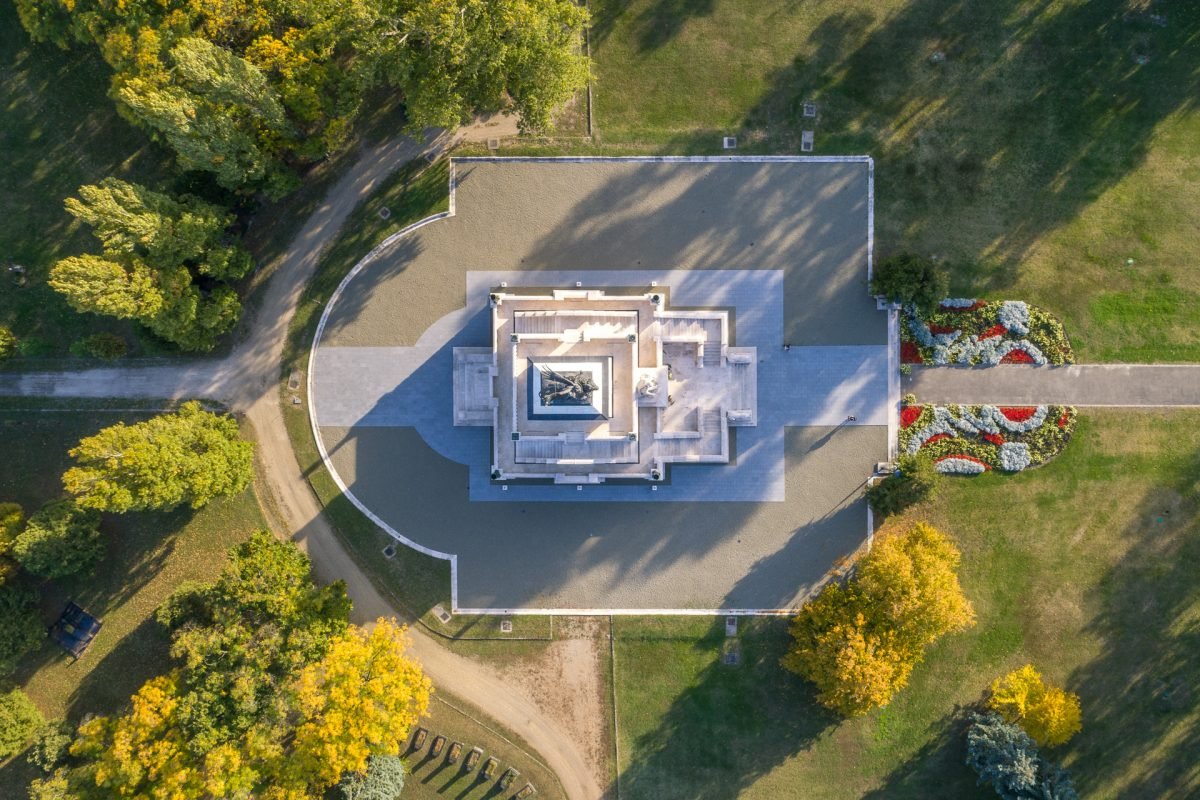 Bird's eye view of mausoleum in Kerepesi Cemetery, Budapest