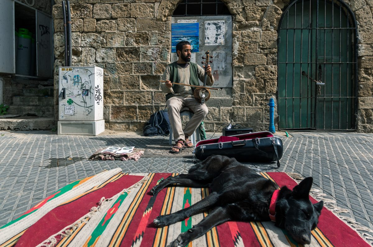 A street musician playing kamancheh at old Jaffa port