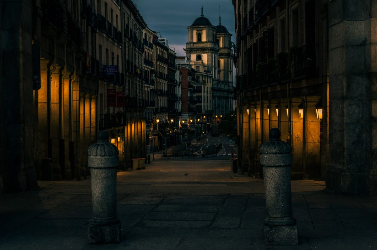 Dawn shot of a small street in Madrid