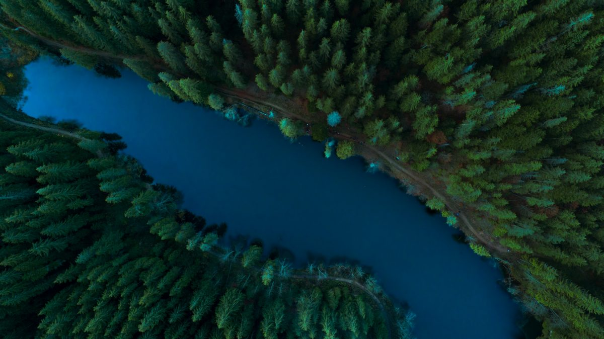 Bird eye view of Red Lake in Romania and the dense forest around it