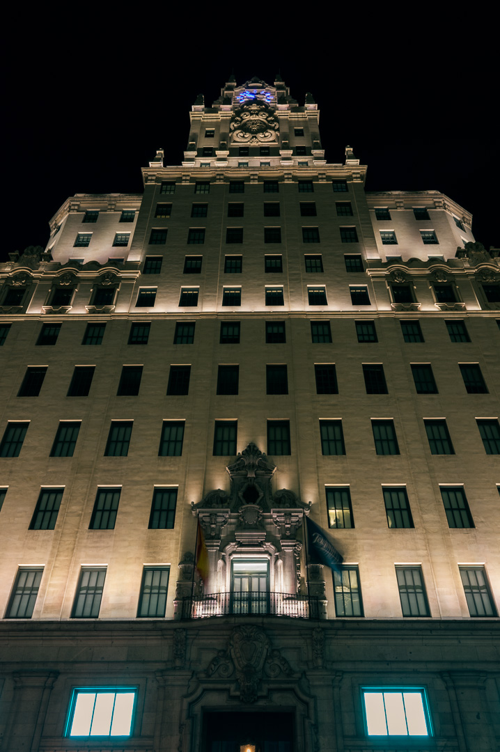 The facade of Telefonica building in Madrid, by night