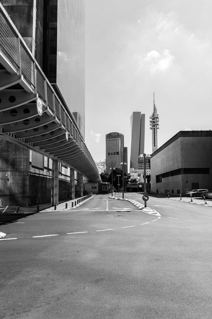 Empty avenue on Tel Aviv during Shabbat