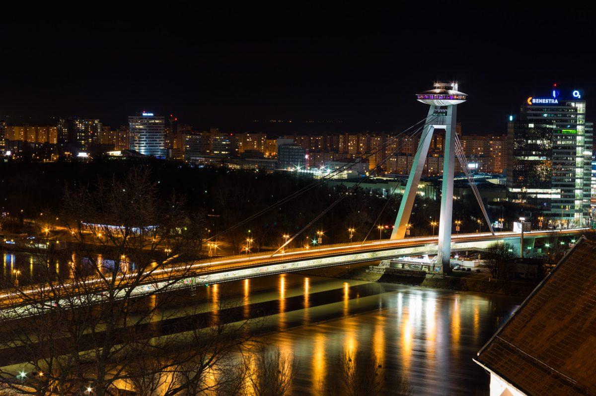 Night shot of UFO bridge in Bratislava, Slovakia