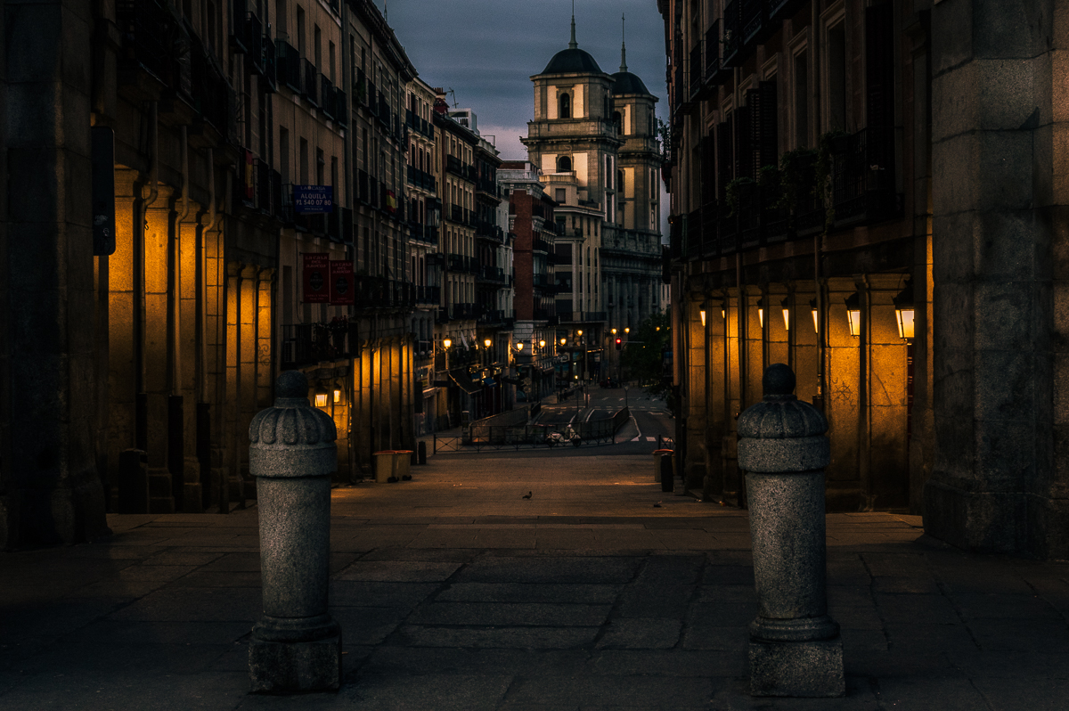 The first light over the city of Madrid