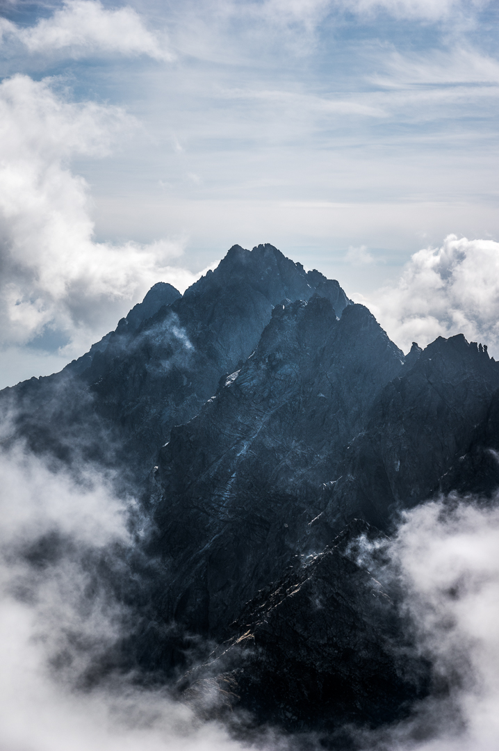 The Peaks of Mount Satan surrounded by clouds