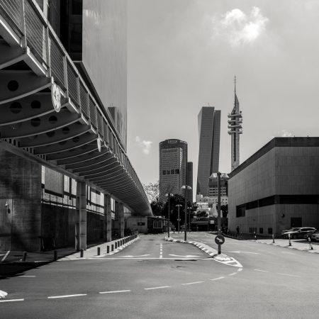 Black and white city scape of Tel Aviv