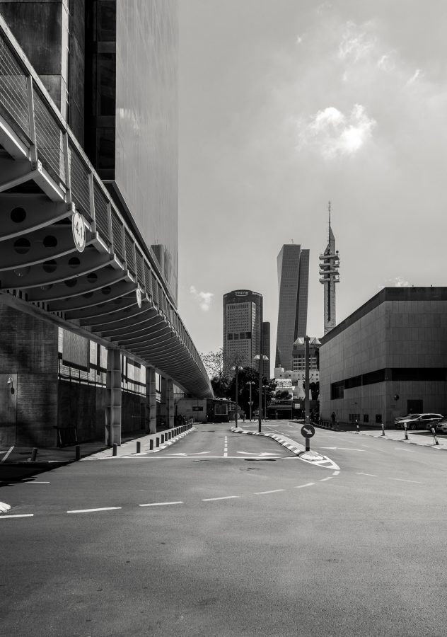 Black and white city scape of Tel Aviv